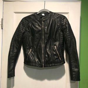 H&M faux leather moto jacket size 10